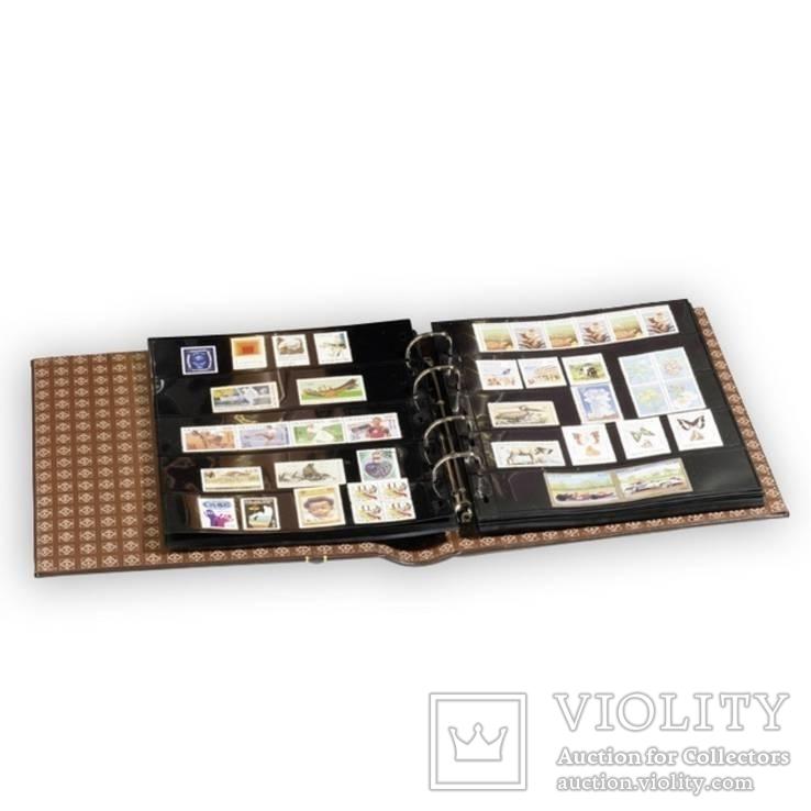 Альбом OPTIMA вместимостью (до 60 листов) для монет или купюр, из кожи с футляром, фото №3