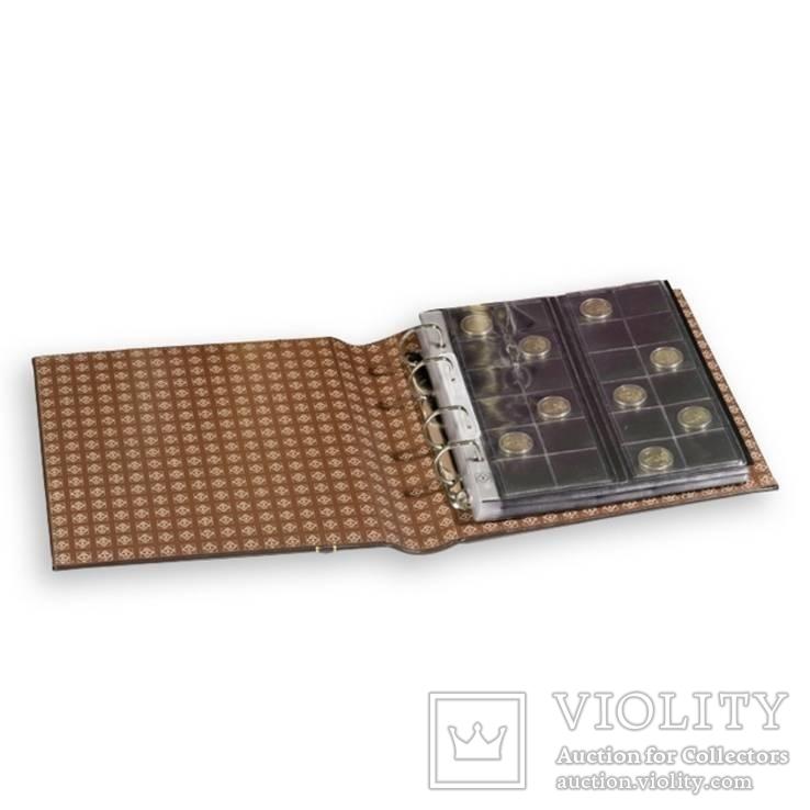 Альбом OPTIMA вместимостью (до 60 листов) для монет или купюр, из кожи с футляром, фото №4
