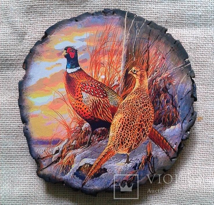"""Картинки на срезе дерева """"Пара фазанов"""""""