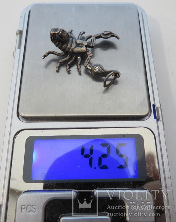 Подвеска ''Скорпион'' серебро 4,25 грамм 925`, фото №6