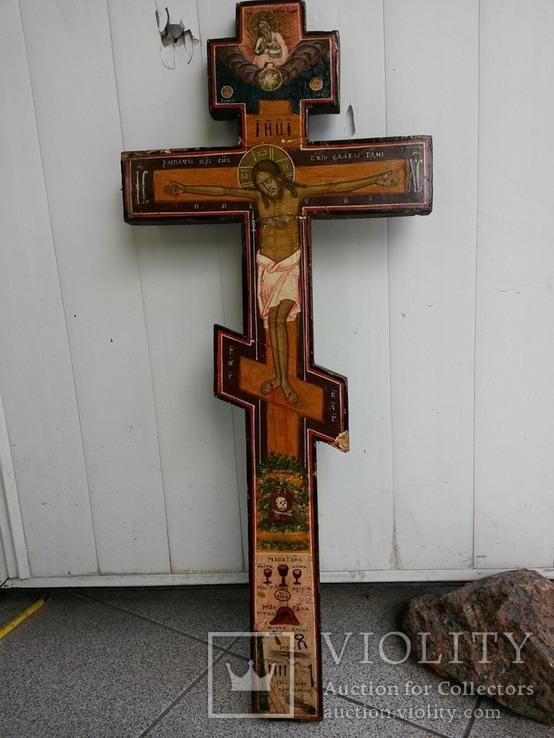 Большой деревянный крест -распятие с изображением орудия Страстей Христовых 76х32.5х3 см