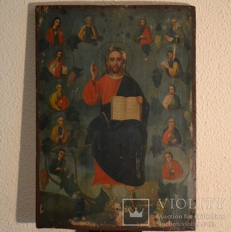 Икона старинная 12 апостолов Христа разм.43х31 см.