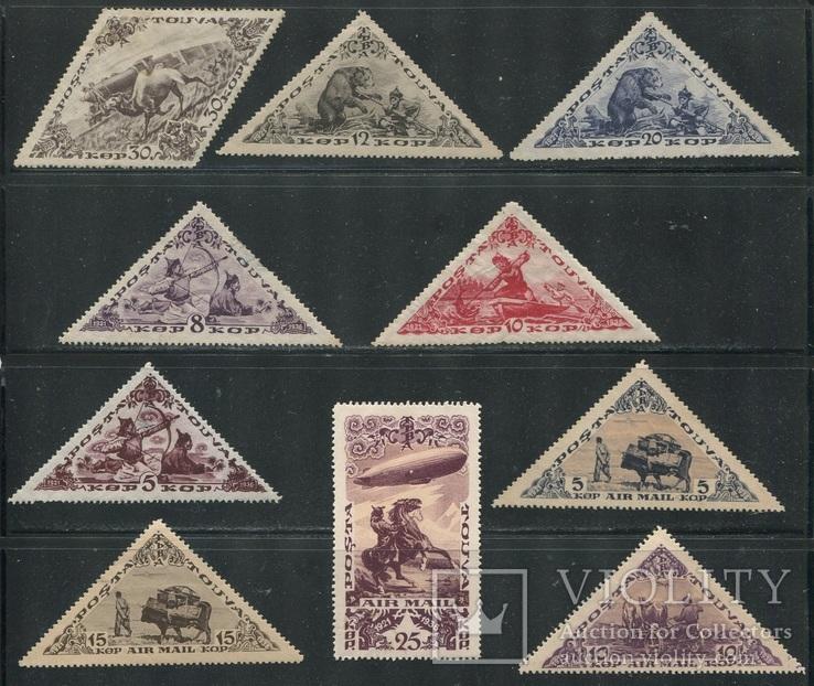 Тува коллекция чистых марок 54 шт без повторов