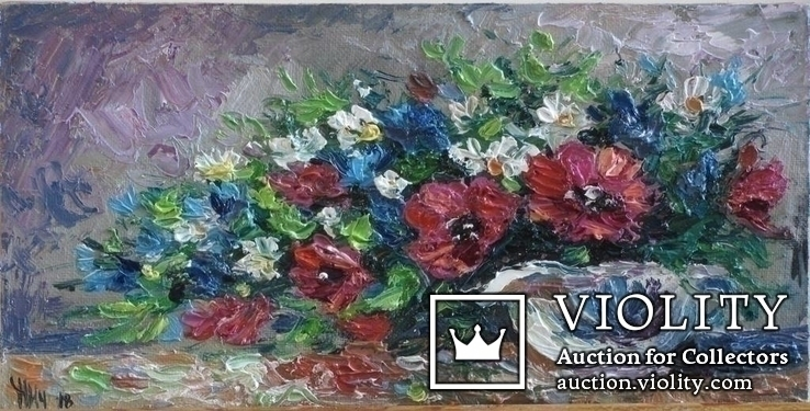Цветы в молочнике 15/30 холст на двп