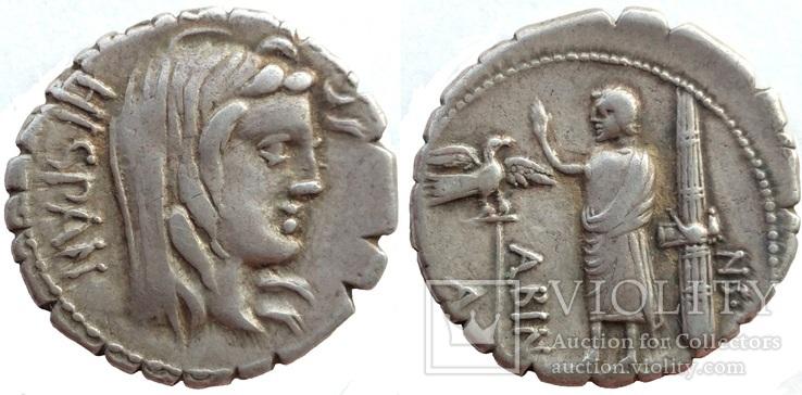 Республиканский денарий серрата A. Postumius Albinus 81 г до н.э. (24_24)