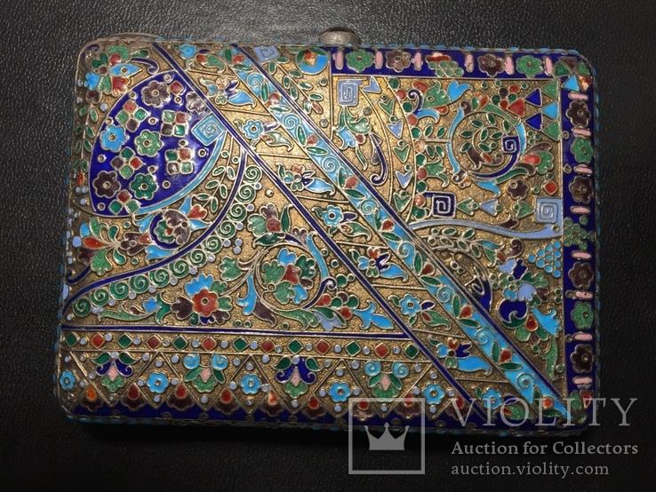 Портсигар серебряный с эмалями 84