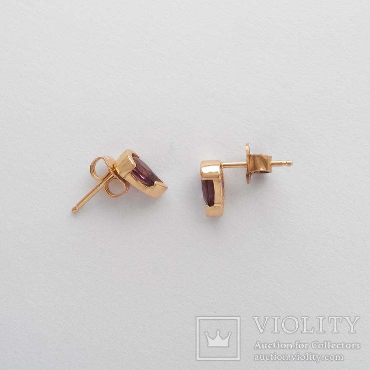 Золотые серьги-гвоздики с турмалинами, фото №3
