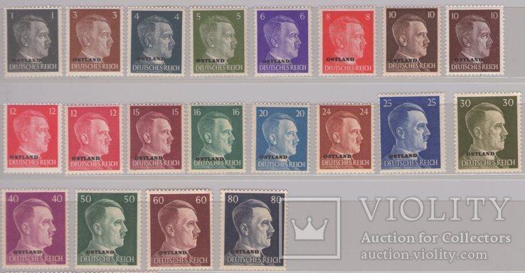 Рейх Оккупация Остланда. Портрет А. Гитлера выпуск 1941-43 гг.  две полных серии