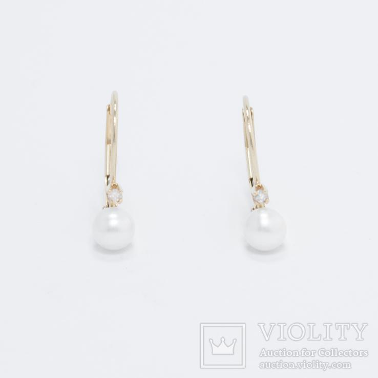 Золотые серьги с жемчугом и бриллиантами, фото №2