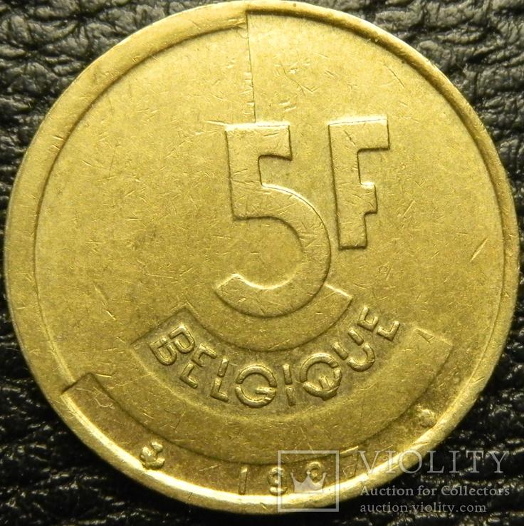 5 франків Бельгія 1987 Belgique, фото №2