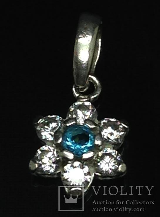 Кулон, голубой камень, цирконы, фото №2