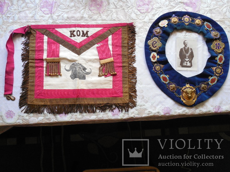 Масонский фартук, масонская шейная лента, фотооткрытка ложа быка