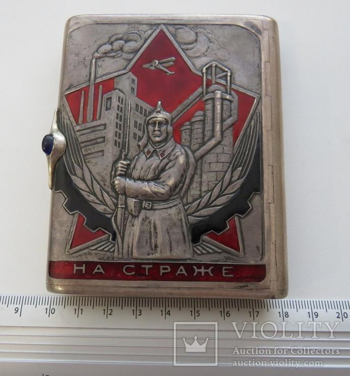 Портсигар СССР эмали,позолота, до 1940 года, серебро 171,56 грамм