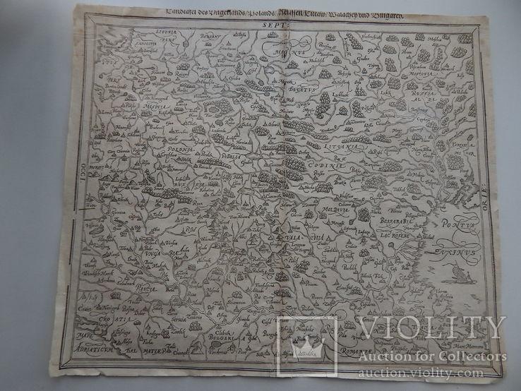 Карта с частью территории Украины. Мюнстер, 1545.