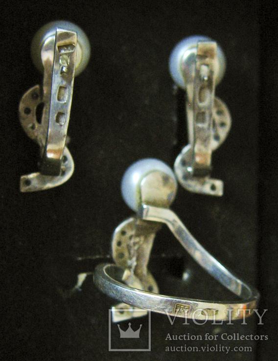 Серьги и кольцо Серебро 875 пр.Золото 375 пр.Жемчуг и фианиты.Украина, фото №3