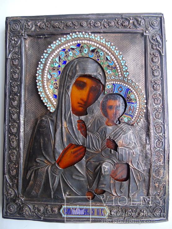 Икона Богородицы Смоленская. Серебро 84.