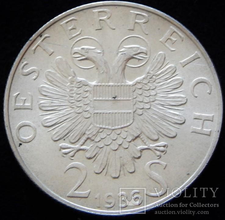 2 шилінги 1936 року, Австрія. Пам'яті Принца Євгенія Савойського, срібло 12 г
