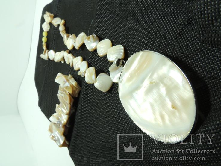 Ожерелье с кулоном + браслет из раковины настоящего жемчуга, фото №9