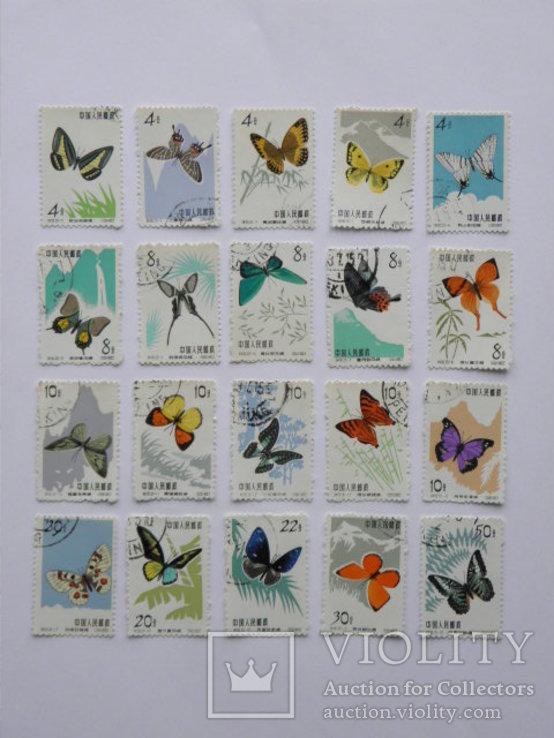 Китай Бабочки 1963 г полная серия 20 шт
