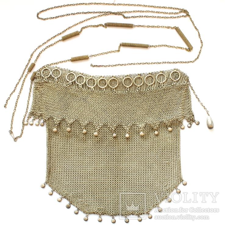 Дамская театральная сумочка-кольчужка 800 проба. 230 грамм