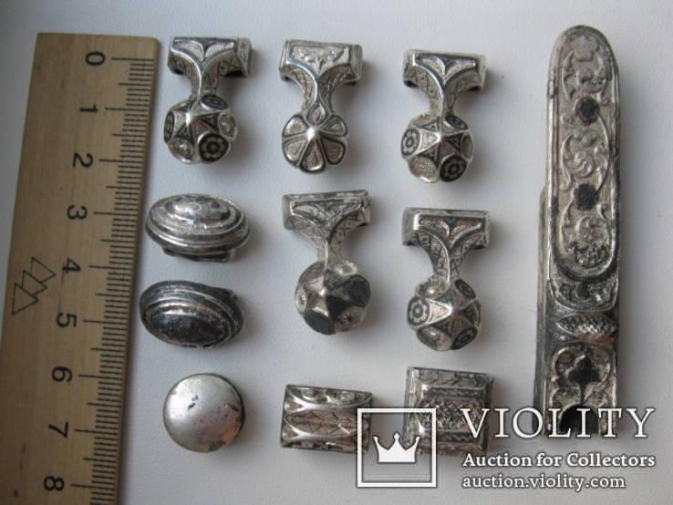 Часть кавказкого ремня  серебро чернение 84 проба 100 грамм, фото №2