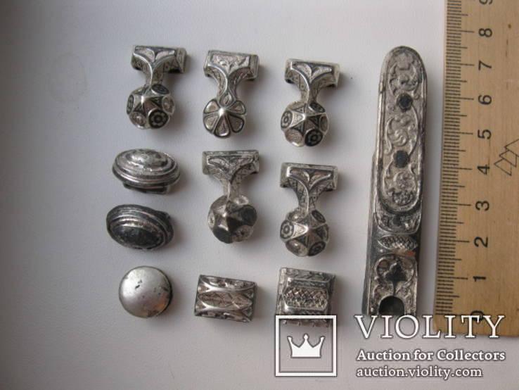 Часть кавказкого ремня  серебро чернение 84 проба 100 грамм, фото №3