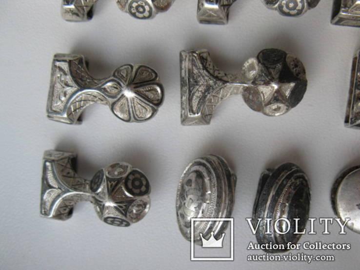 Часть кавказкого ремня  серебро чернение 84 проба 100 грамм, фото №5