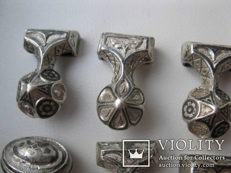 Часть кавказкого ремня  серебро чернение 84 проба 100 грамм, фото №8