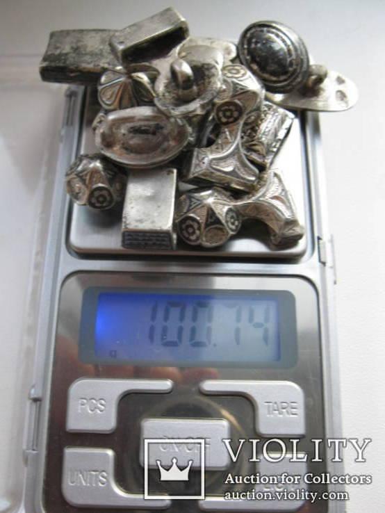 Часть кавказкого ремня  серебро чернение 84 проба 100 грамм, фото №13
