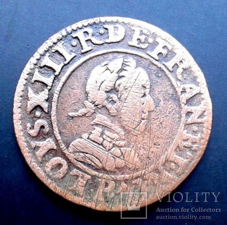 2 денье (двойной денье) Людовик XIII 1617 год