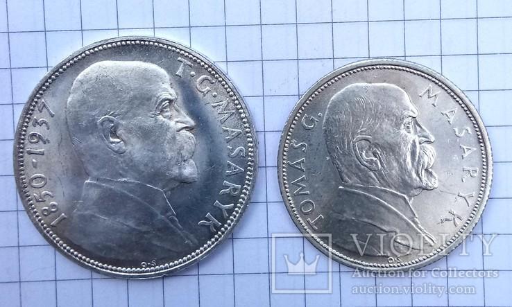 10 крон 1928,20 крон 1937 р.  Чехословакія