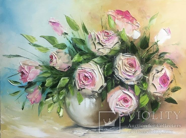 Картина «Букет роз» масло мастихин