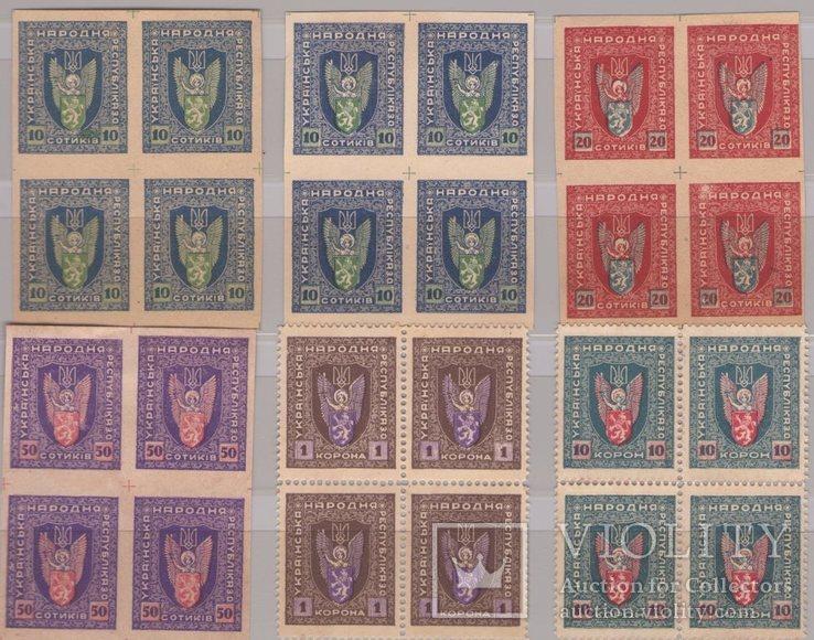 Украина ЗУНР 1919г. Полная серия в квартблоках