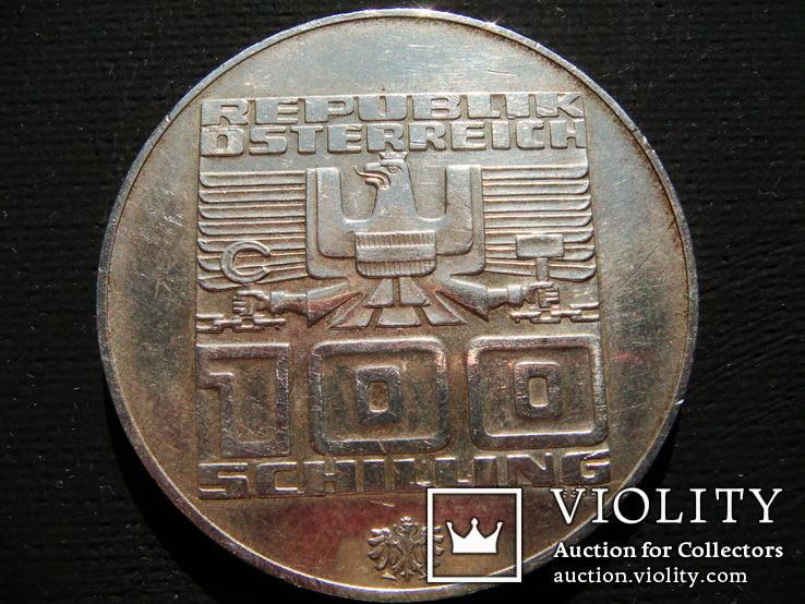 Памятная монета 100 австрийских шиллингов, XII зимняя Олимпиада, Инсбрук, 1976