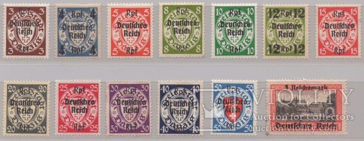 Третий Рейх Выпуск почтовых марок Вольного города Данцига с надпечаткой 1939г.