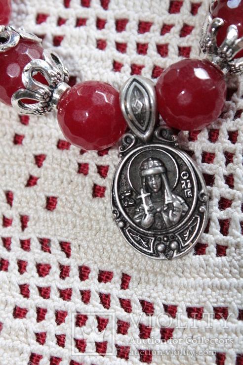 Намисто з кулоном св.Ольги бусы украшение, фото №7