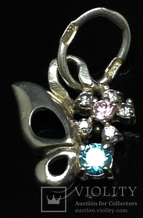 Кулон, цирконы, розовый и голубой камни, фото №4