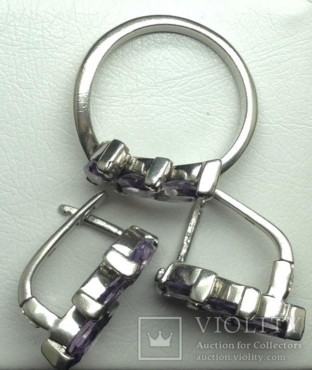 Кольцо, серьги, фиолетовые камни, фото №4
