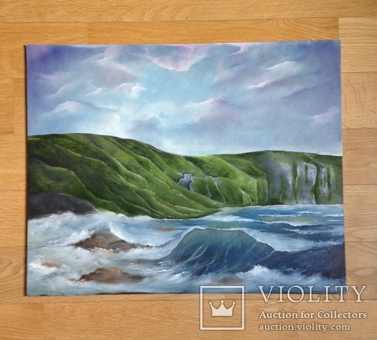 Морской пейзаж Авторская работа Холст на картоне, фото №3