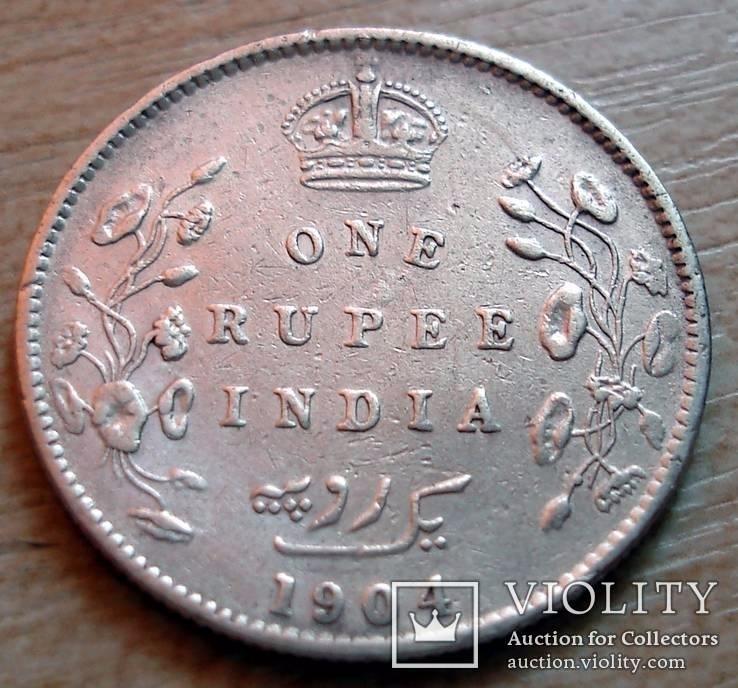 Британская Индия 1 рупия 1904 г. Эдвард VII, фото №2