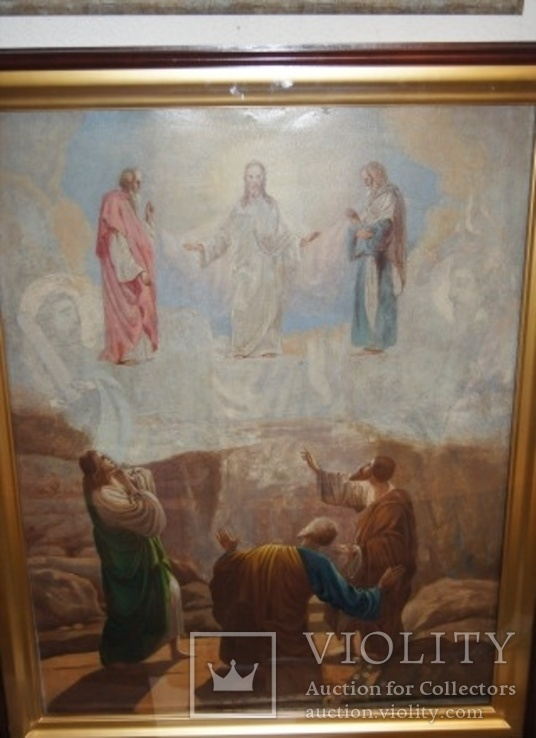 Старинная большая икона в киоте