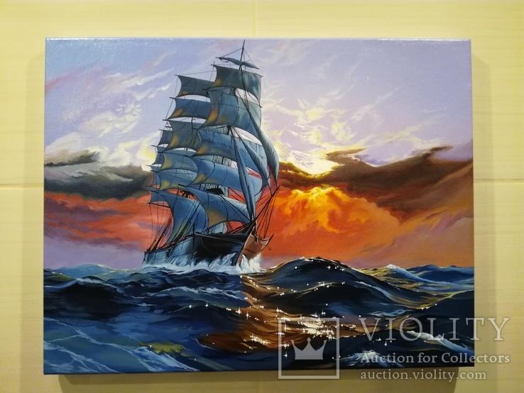 """Картина """"Морской закат"""". Холст 35х45 см"""