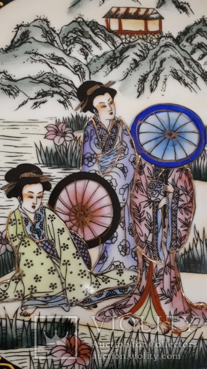 """Настенная тарелка """"Три гейши"""" с держателем., фото №4"""