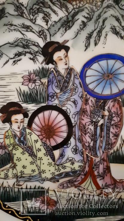 """Настенная тарелка """"Три гейши"""" с держателем., фото №6"""