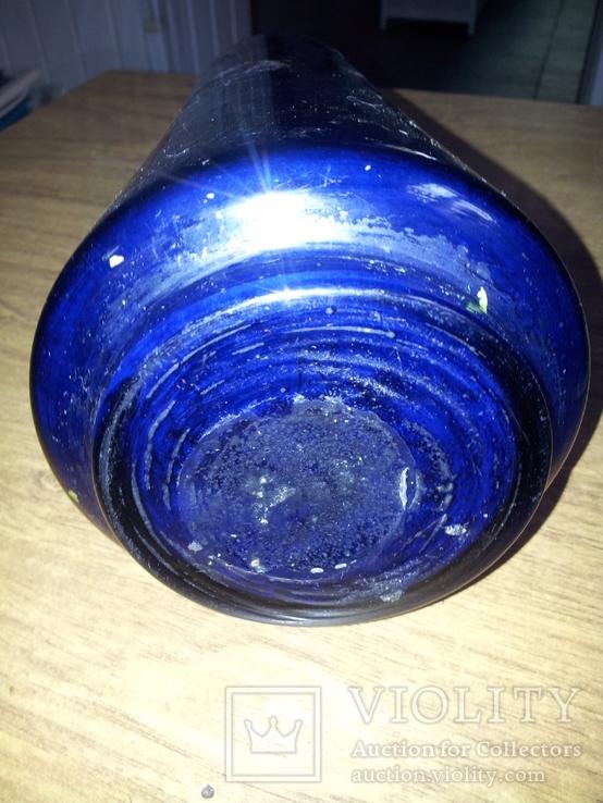 Ваза синее стекло 50-е годы, фото №7