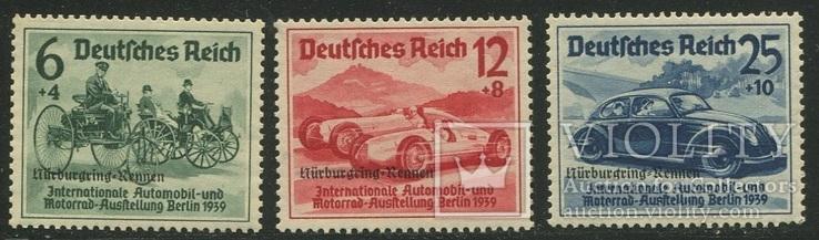 1939 Рейх  автомобили с надпечаткой полная серия с клеем