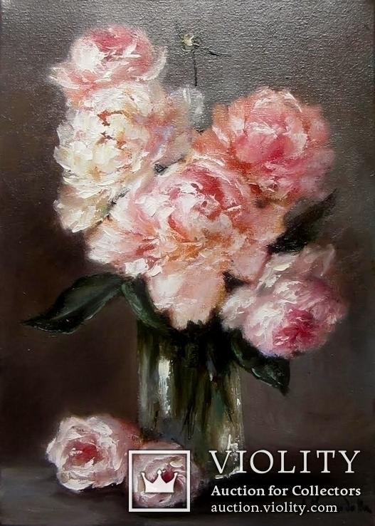 ''Пионы и розы''. 25х35 см. авторская масло холст
