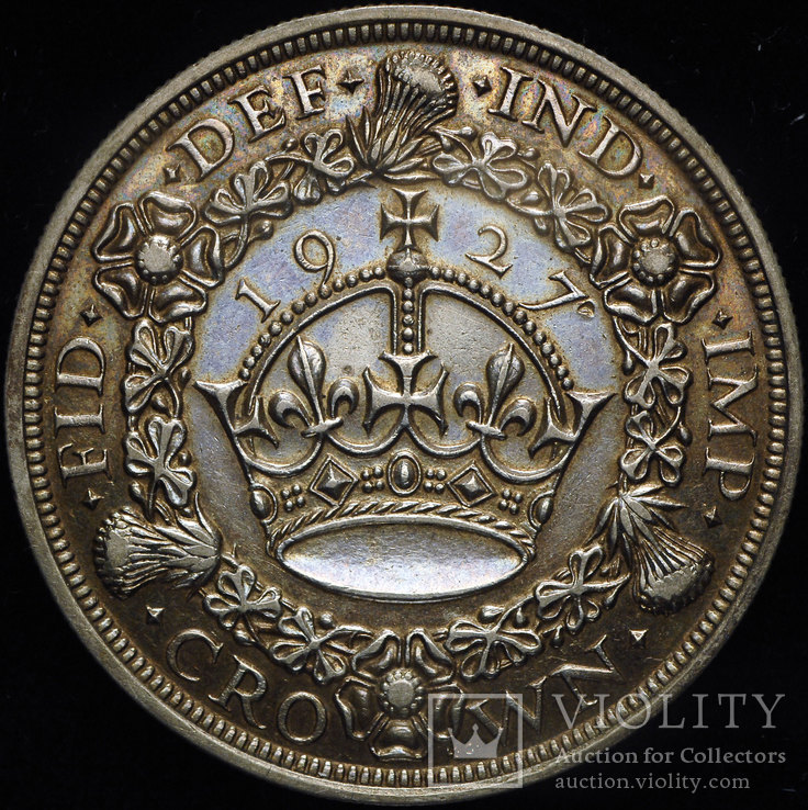Великобритания крона 1927 aUnc серебро редкий тип