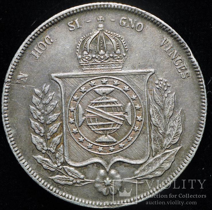 Бразилия 1000 рейс 1853 Unc серебро