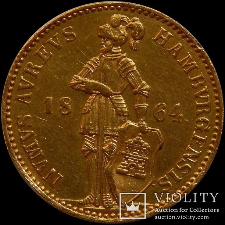 1 дукат 1864 року, Гамбург, золото 986, 3,49 г